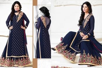 Beaige banarasi silk embroidered unstitched salwar with dupatta