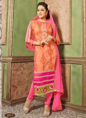 Orange embroidered Chanderi and cotton semi stitched salwar with dupatta