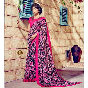 Pink and Blue printed georgette sare with blouse