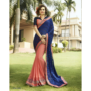 Blue and Pink embroidered georgette sare with blouse