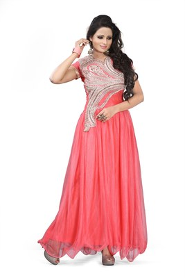 Orange Georgette  and  Net  embroidered semi stitched salwar with dupatta