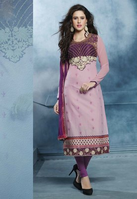 Pink embroidered cotton semi stitched salwar with dupatta