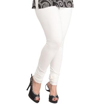 White plain 4-Way Lycra Cotton leggings