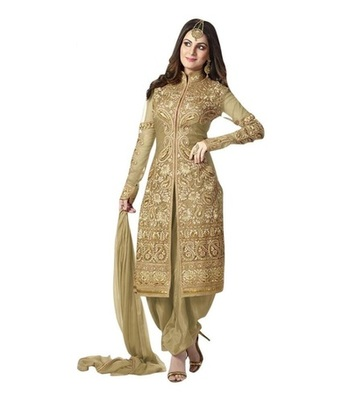 Beaige georgette embroidered unstitched salwar with dupatta