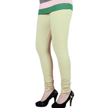 Cream plain 4-Way Lycra Cotton leggings