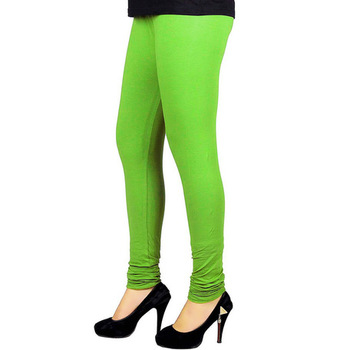 Green plain 4-Way Lycra Cotton leggings