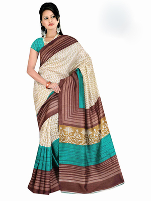 Brown and cream printed chiffon saree with blouse