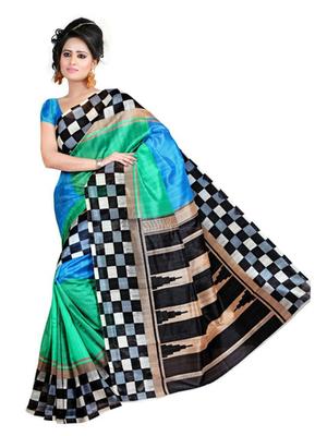 Blue and green printed bhagalpuri silk saree with blouse