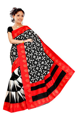 Black and red printed art silk saree with blouse