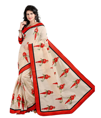 Red embroidered cotton silk saree with blouse