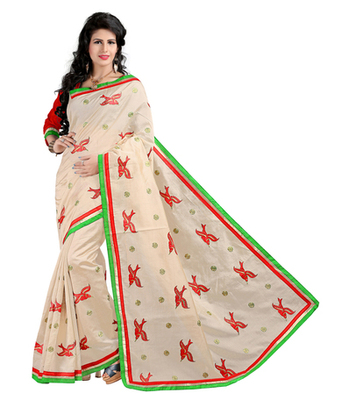 Cream embroidered cotton silk saree with blouse