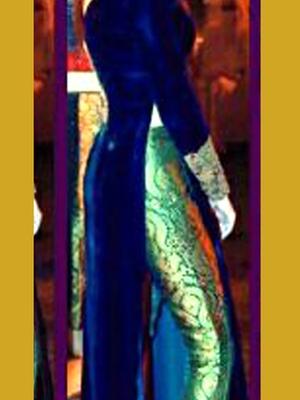 Blue Velvet embroidered semi stitched salwar with dupatta