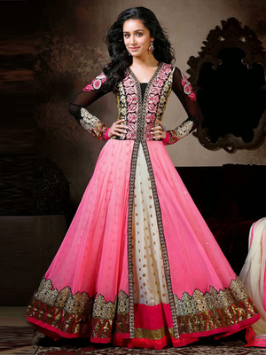 Pink Georgette embroidered semi stitched salwar with dupatta
