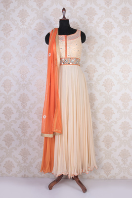 Peach and orange georgette mesmeric kameez with wide round neck