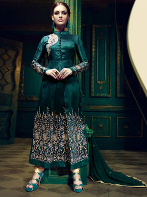 Green silk embroidered semi stitched salwar with dupatta