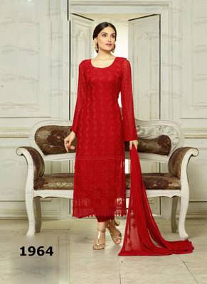 Red Embroidered Pure Chiffon unstitched salwar with dupatta