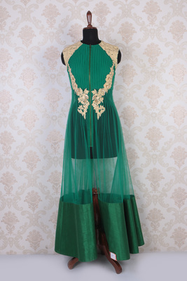 Green and gold net embroidered elegant anarkali with closed neck