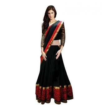 Black Embroidered Designer Georgette Lehenga with Blouse