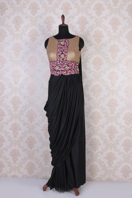 Black multicoloured lycra and brocade embroidered sublime saree gown