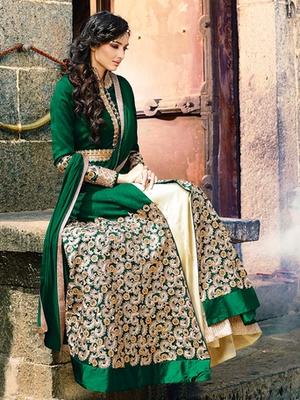 Green silk embroidered semi stitched salwar with dupatta