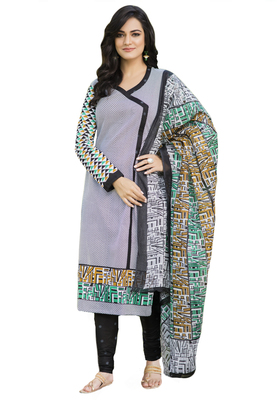 Black and White and Green printed Cotton unstitched salwar with dupatta