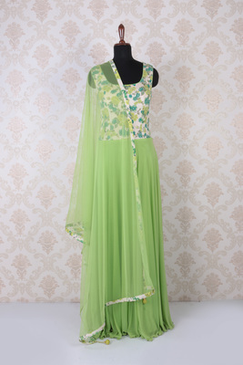 Pistachio green multicoloured sophisticated kameez with round neck