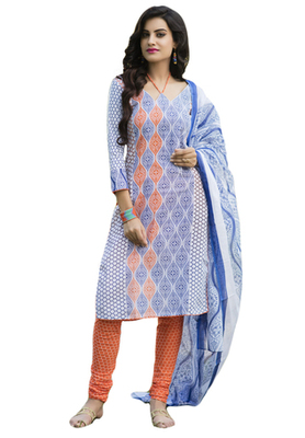 Blue and White and Orange printed Cotton unstitched salwar with dupatta
