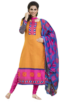 Orange and Pink and Blue printed Cotton unstitched salwar with dupatta