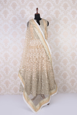 Peach and white raw silk and net opulent embroidered anarkali with round neck