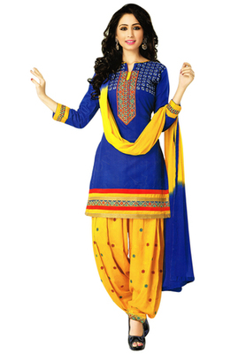 Blue and Dark Yellow embroidered Cotton unstitched salwar with dupatta