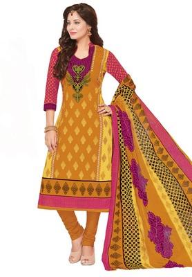 Dark Yellow and Rani printed Cotton unstitched salwar with dupatta