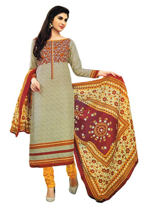 Maroon and Beige printed Cotton unstitched salwar with dupatta
