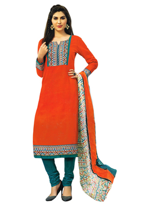Dark Orange and Turquoise printed Cotton unstitched salwar with dupatta