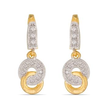 Designer American Diamond Studded Gold Plated Earrings