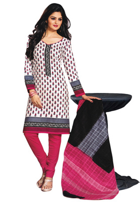 White and Pink and Black printed Cotton unstitched salwar with dupatta