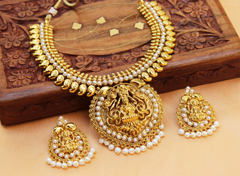 Lovely whitecolour  laxmi necklace set