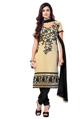Beige and Black embroidered Chanderi unstitched salwar with dupatta