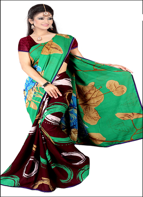 Green printed rayon saree with blouse