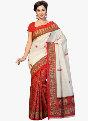 RED printed art silk saree with blouse