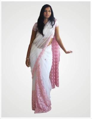 Pink Net & Lace Saree