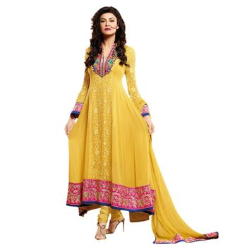 Hypnotex Georgette Yellow Color Designer Dress Material MegaCeleb204