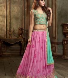 Buy Pink Embroidered, Resham Work, Patch, Printed georgette unstitched lehenga-choli lehenga-choli online