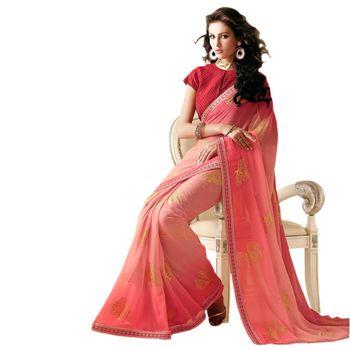 Sahiba Georgette Pink Color Designer Saree Chamcham409