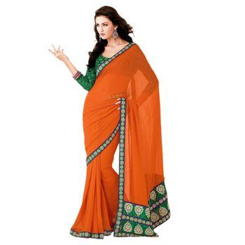Sahiba Georgette Orange Color Designer Saree Chamcham423