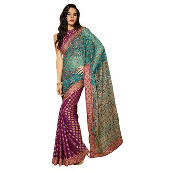 Hypnotex Net and Viscose Purple and Blue Color Designer Saree Dot9003A