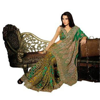 Hypnotex Net Green Color Designer Saree Dot9011B