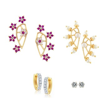 Pink Combo of Gold Plated  Earrings