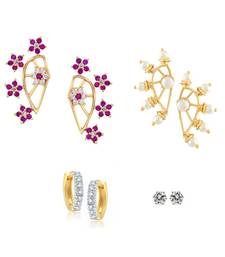 Buy Pink Combo of Gold Plated  Earrings combo-earring online