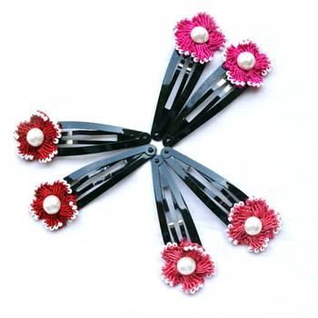 Hair Pins with Crochet Motifs | 3 Pairs | Red, Pink & Peach
