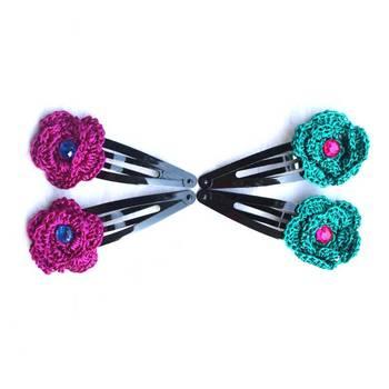 Hair Pins with Crochet Motifs | 2 Pairs | Purple & Teel